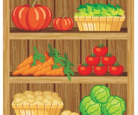 supermarket showcase and food vector set 06