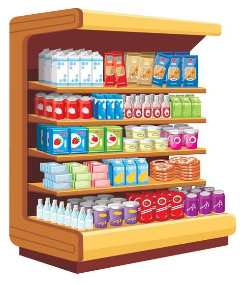 Supermarket Showcase And Food Vector Set 08 Vector Food