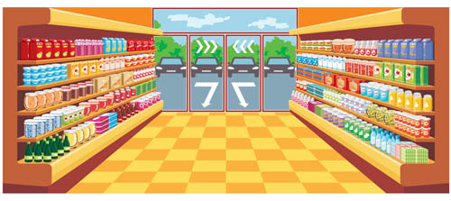 supermarket showcase and food vector set 09