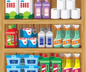 supermarket showcase and food vector set 10