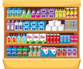 supermarket showcase and food vector set 11