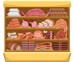 supermarket showcase and food vector set 12