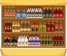 supermarket showcase and food vector set 14