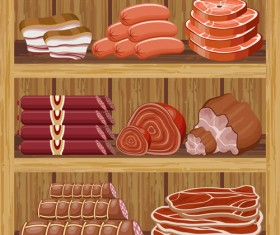 supermarket showcase and food vector set 15