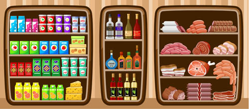 supermarket showcase and food vector set 16
