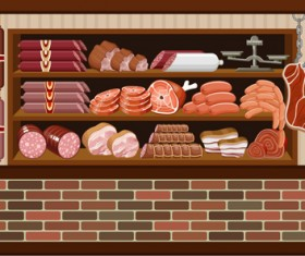 supermarket showcase and food vector set 17