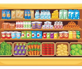 supermarket showcase and food vector set 19