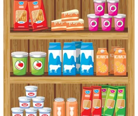 supermarket showcase and food vector set 21
