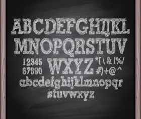 Alphabet with numbers and chalkboard vector 03