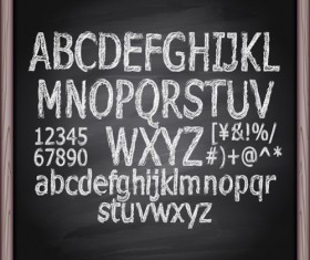Alphabet with numbers and chalkboard vector 04