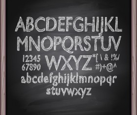 Alphabet with numbers and chalkboard vector 05