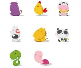 Amusing cartoon animal vector icons