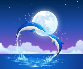 Beautiful dolphins and moon vector background