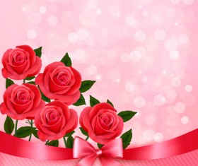 Beautiful flower with pink backgrounds vector 02