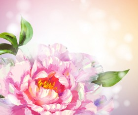 Beautiful flower with pink backgrounds vector 03