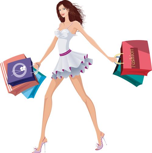 Beautiful Shopping Girls Illustration Vector 05 Free Download