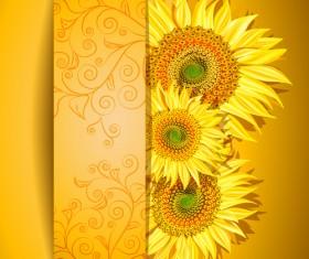 Beautiful sunflowers background vector 02
