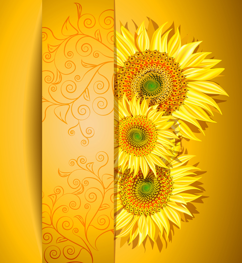 Beautiful sunflowers background vector 02