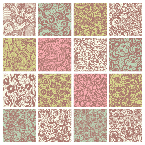 Beautiful Vintage Lace Pattern Set Vector 02