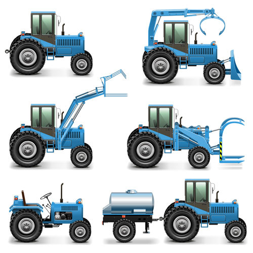 Blue construction vehicles vector graphics