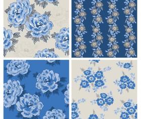 Blue retro flowers pattern seamless vector 01