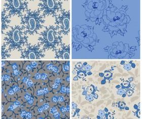 Blue retro flowers pattern seamless vector 02