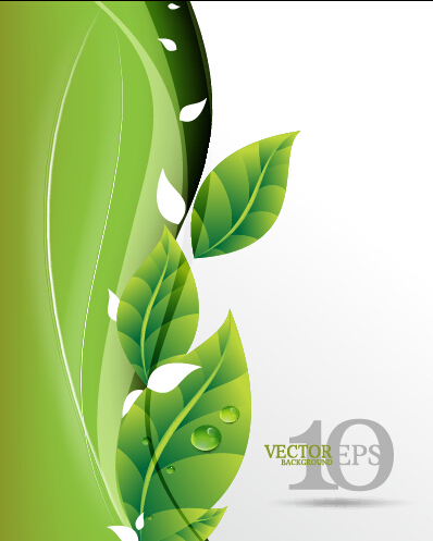 Bright green leaves backgrounds vector graphics 03 free download