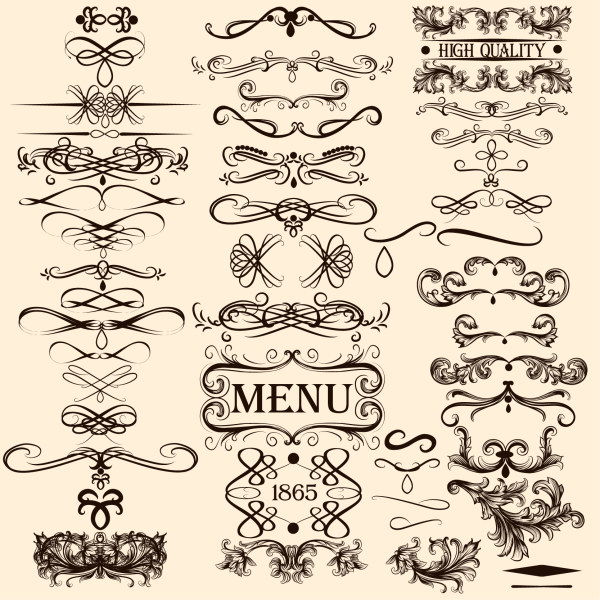 Calligraphy with menu ornaments vector material