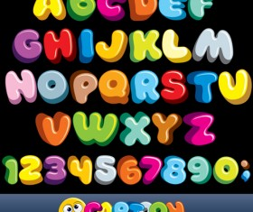 Cartoon alphabet with numbers colored vector