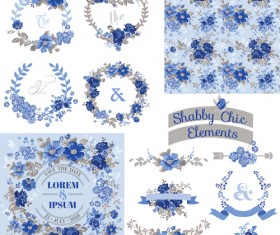 Chic floral ornaments blue styles vector