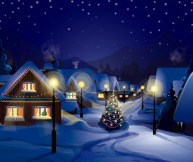 Christmas night with snow scenery vector
