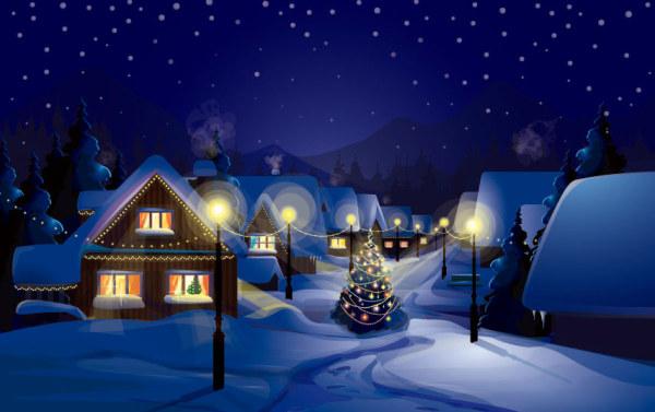 Christmas night with snow scenery vector - Vector Christmas ...
