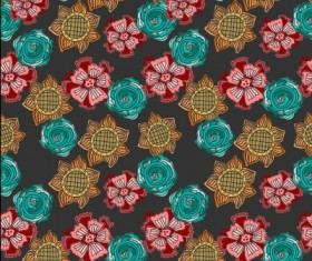 Classical flowers pattern seamless vector set 02