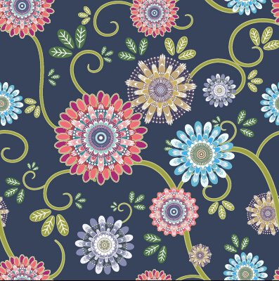 Classical flowers pattern seamless vector set 05
