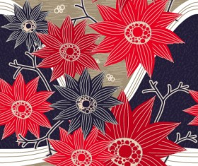 Classical flowers pattern seamless vector set 09