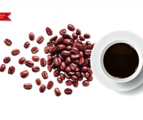 Coffee beans with white background vector 01