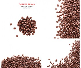 Coffee beans with white background vector 03