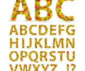Colored leaves with alphabet vector