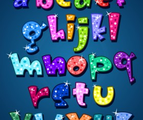 Cute Lower case shiny vector material 01