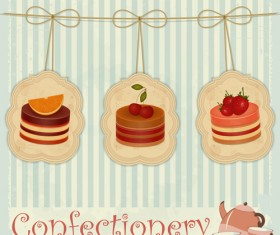 Cute confectionery retor background vector
