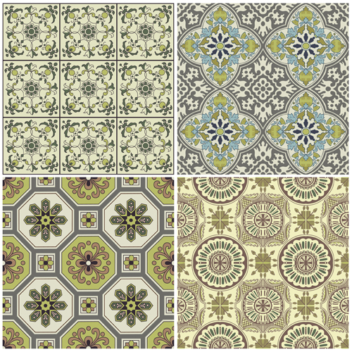 Cute floral decor pattern vector material 03 vector - Stickers pour carrelage mural cuisine ...