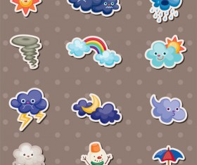 Cute weather icons vector set