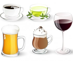 Different delicious drinks vector illustration 02