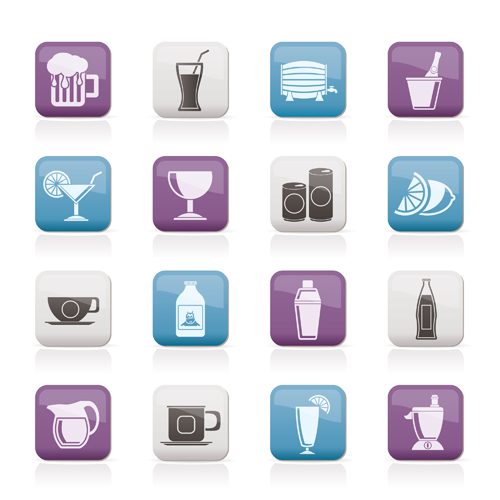 Drinks icons shiny vector material