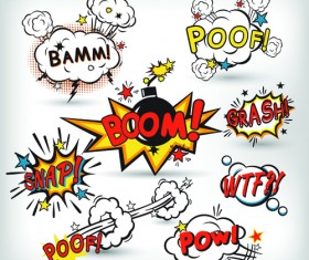 Explosion style speech bubbles vector material 01