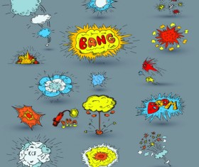 Explosion style speech bubbles vector material 06