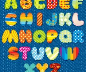 Floral fabric alphabet vector