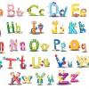 Funny cartoon alphabet vector graphics