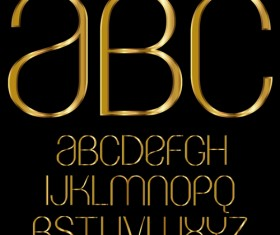 Glossy golden alphabet and numbers vector 02