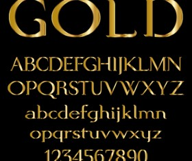 Glossy golden alphabet and numbers vector 03